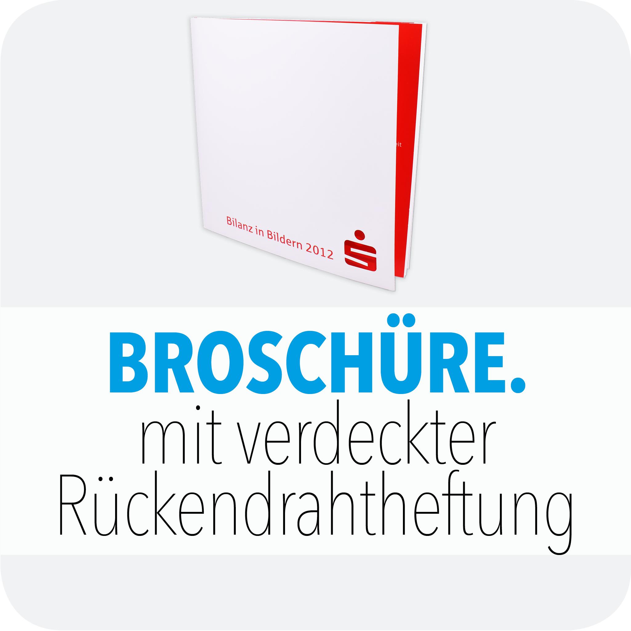 Broschüre mit verdeckter Rückendrahtheftung