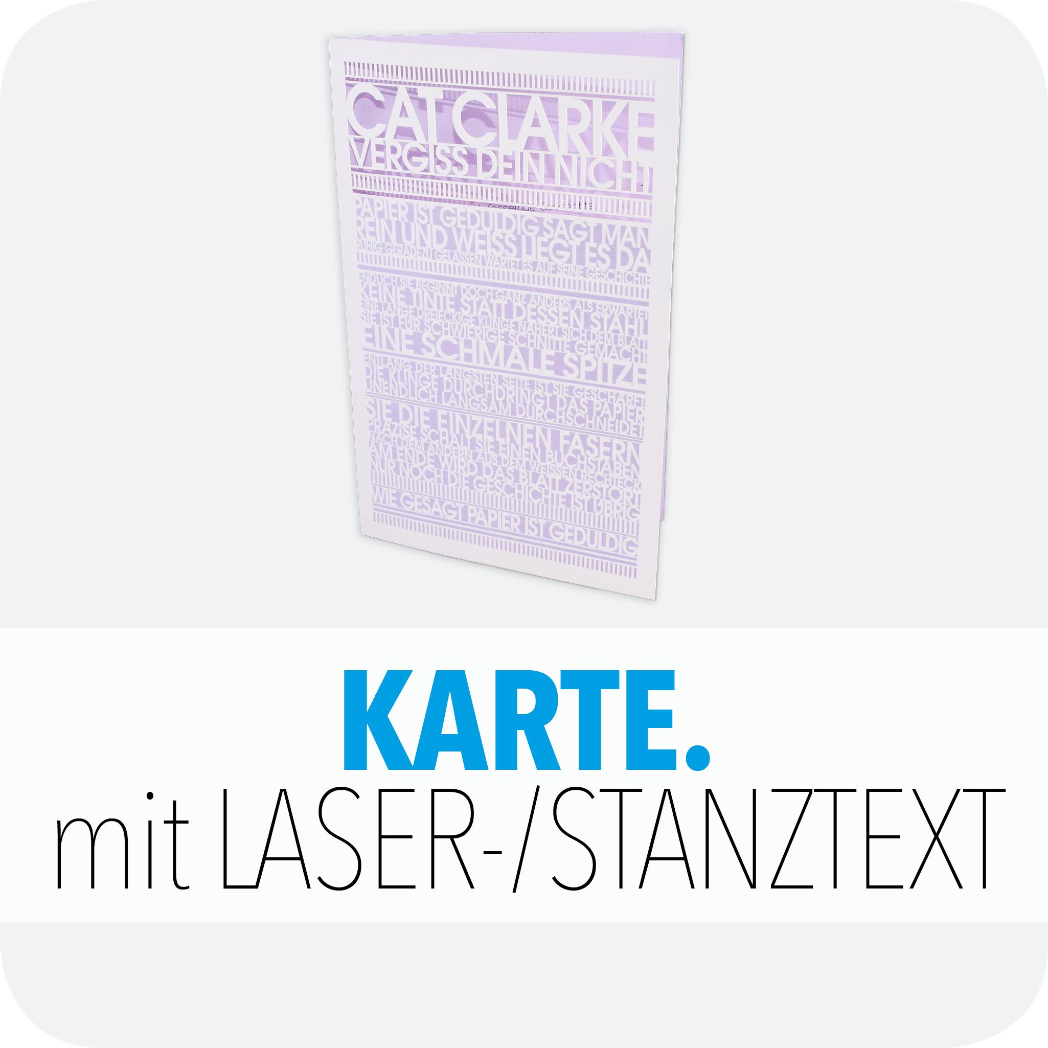 Karte mit Laser-/Stanztext
