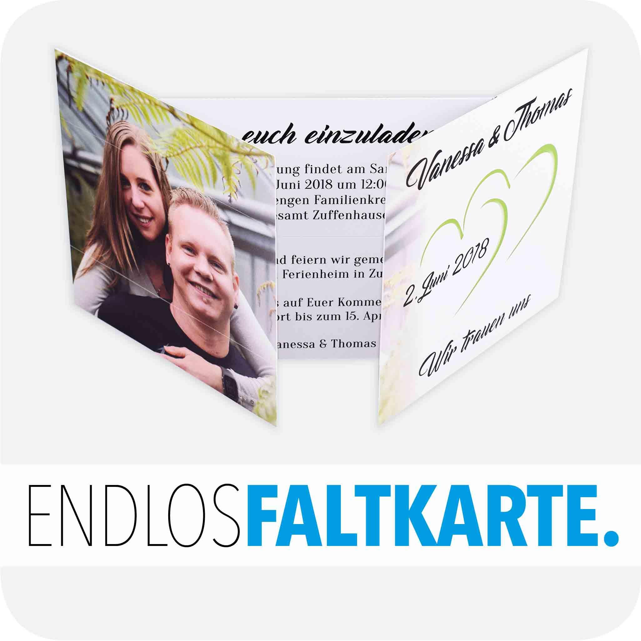 Hochzeitseinladung Endlos-Faltkarte